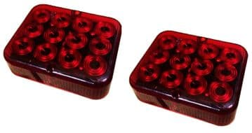 2 x RED AUXILLIARY FOG LAMP LIGHT 12v E APPROVED TRAILER BOARD TOWING